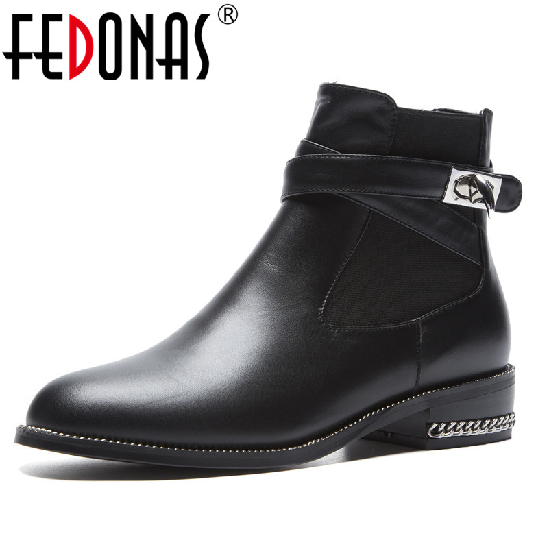 FEDONAS Brand Women Ankle Boots Genuine Leather Autumn Winter Short Martin Shoes Woman High Heels Buckles Motorcycle Boots fedonas 2019 brand women buckles ankle boots thick heels autumn winter motorcycle boots platforms short martin shoes woman