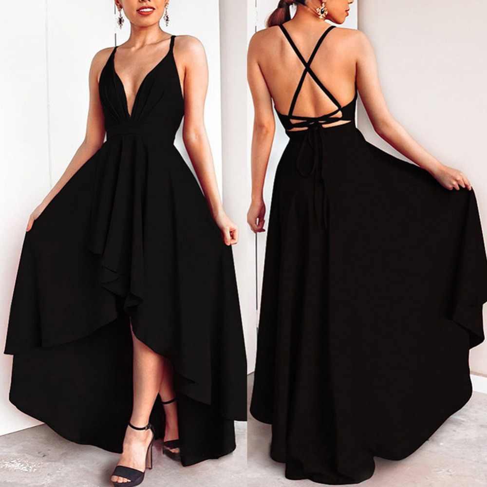 סקסי נשים שמלת ערב עמוק V צוואר נשף שמלת גבירותיי צלב מפלגה חזרה ארוך שמלת נקבה גבוהה מותן פורמליות ספגטי רצועה נדנדה