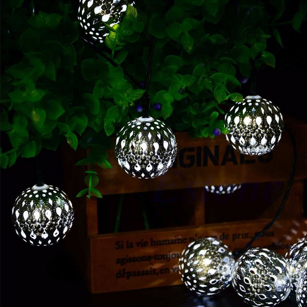 FGHGF Brand 2018 Unique Design Newest 20LED Morocco Hollow String Light Outdoor Xmas Party Decor Lamp Promotion Drop Shipping