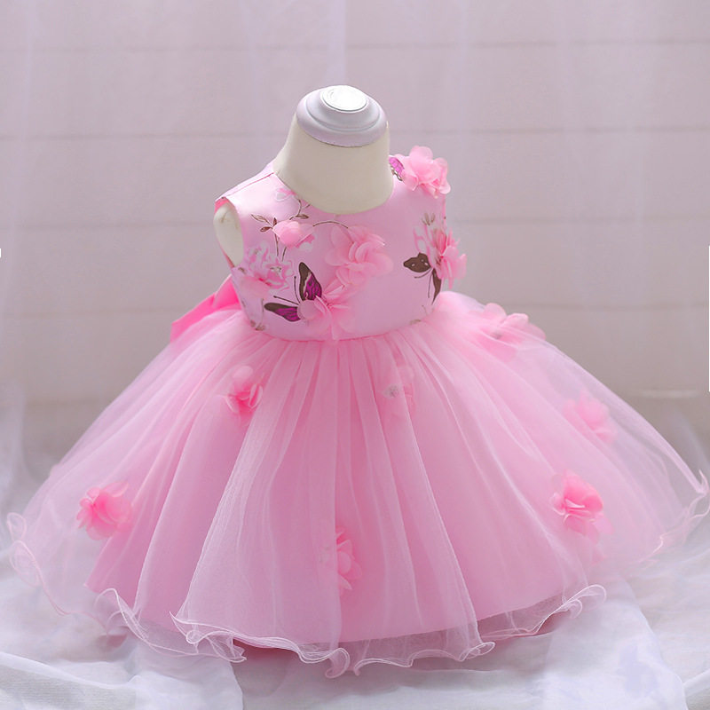 New Fashion Formal Newborn Wedding Dress Baby Girl Bow Pattern For Toddler 1 Years Birthday Party Dress Flower girls Clothes
