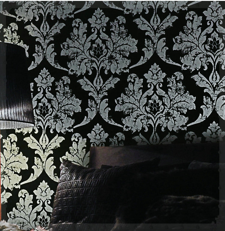 Home Decor Black/silver Damask Wallpaper Leather Bedroom