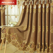 Chenille Embroidered Europe Tulle Window Curtains For living Room Bedroom Treatment Drapes