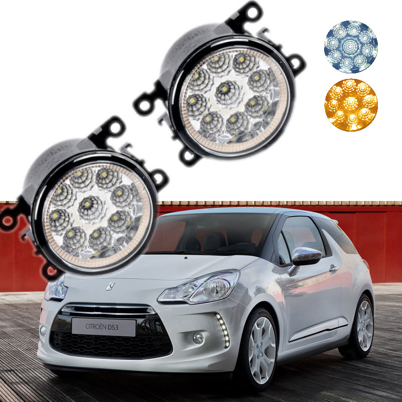Car-styling For Citroen DS3 DS4 DS5 9-Pieces Leds Chips LED Fog Light Lamp H11 H8 12V 55W Halogen Fog Lights front fog ligh for vauxhall movano vectra zafira 98 12 auto right left lamp car styling h11 halogen light 12v 55w bulb assembly