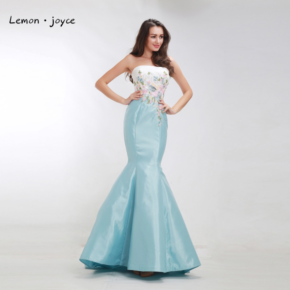 Luxury Mermaid Evening Dresses Long Strapless Appliques with Stone ...