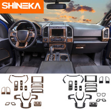 SHINEKA  Interior Mouldings For Ford f150 Sticker Carbon Firber Wood Grain Set Decals for F150 2015+