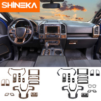 SHINEKA Interior Mouldings For Ford f150 Sticker Carbon Firber Wood Grain Set Decals for Ford F150 2015+