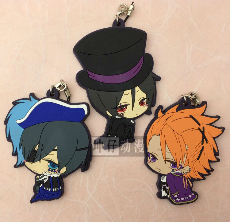 3 pcs/set  Anime Kuroshitsuji/Black Butler Book of Circus Cosplay Sebastian,Ciel ,Joker pvc figures phone strap/Keychain pendant anime kuroshitsuji black butler ciel phantomhive short straight gray and blue mixed synthetic hair ponytails cosplay party wig