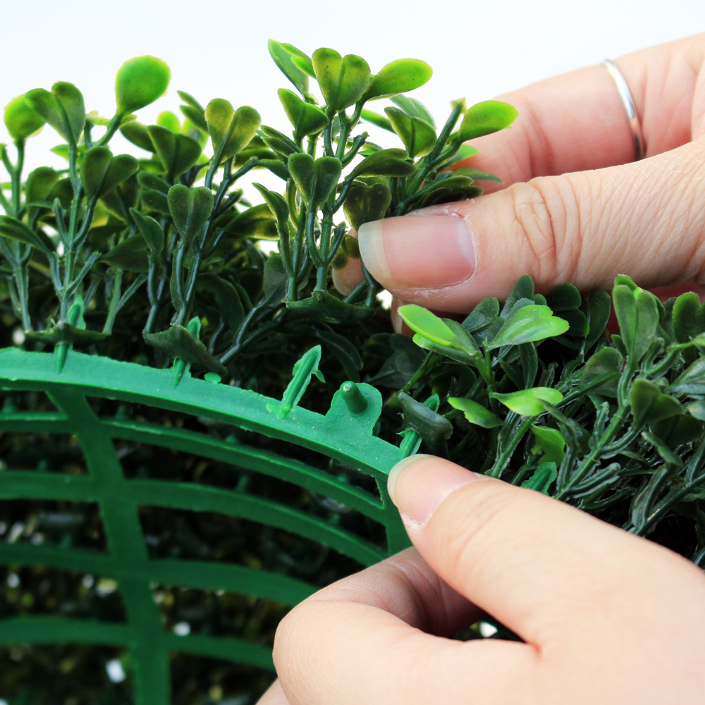 ULAND 48CM Decorative Artificial Grass Ball Plastic Leaf Effect Hanging Green Grass Ball Decoration Artificial Topiary Ball 4