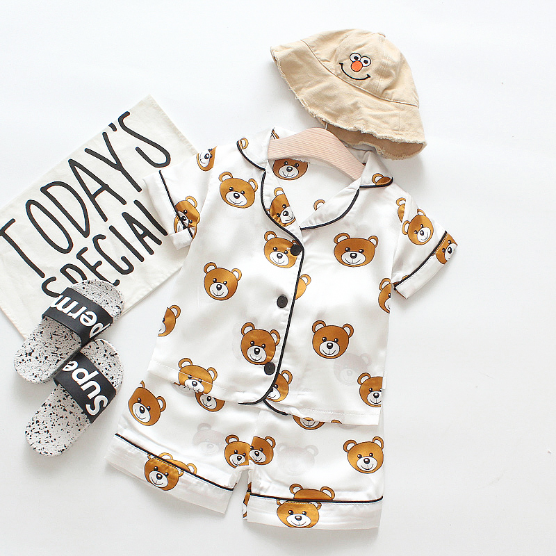 Kids Sleepwear Pajama-Sets Clothing-Sets Girls Baby-Boys Children Cute Summer New Bear title=