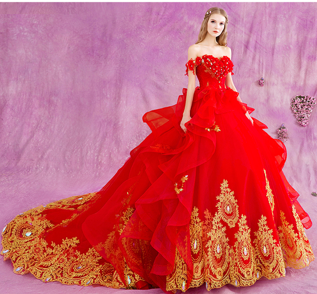 ae4ae7d9db9 2019 Red Gold Appliques Ball Gown Wedding Dresses Off the Shoulder Lace-UP  Back Non White Colorful Bridal Gowns Non Traditional