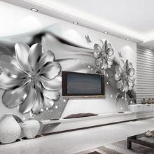 beibehang Custom wallpaper home decor mural black and white abstract ink smoke background 3d flower TV