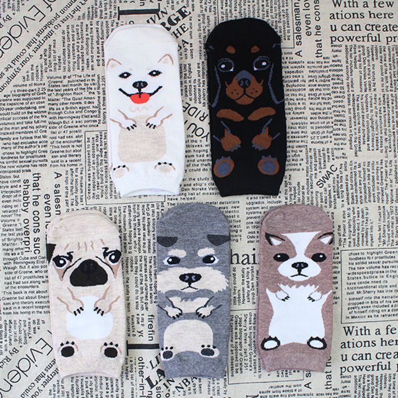 Women 3D Cartoon Animal Puppy Dog Short Over Ankle Socks Student Harajuku Autumn Digital Printing Cotton Hoisery Hip-Hop Socks