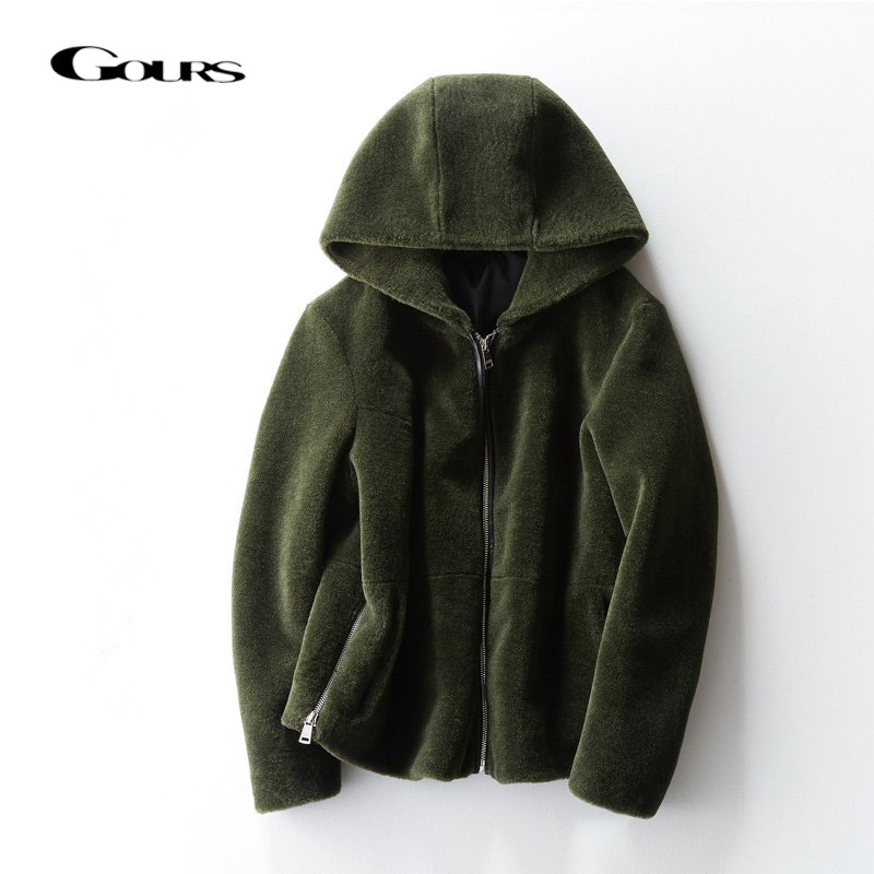 Gours Genuine Shearling Jackets for Women Natural Wool Real Fur Overcoats with Hooded Thick Warm In
