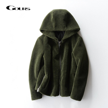 Gours Genuine Shearling Jackets for Women Natural Wool Real Fur Overcoats with H