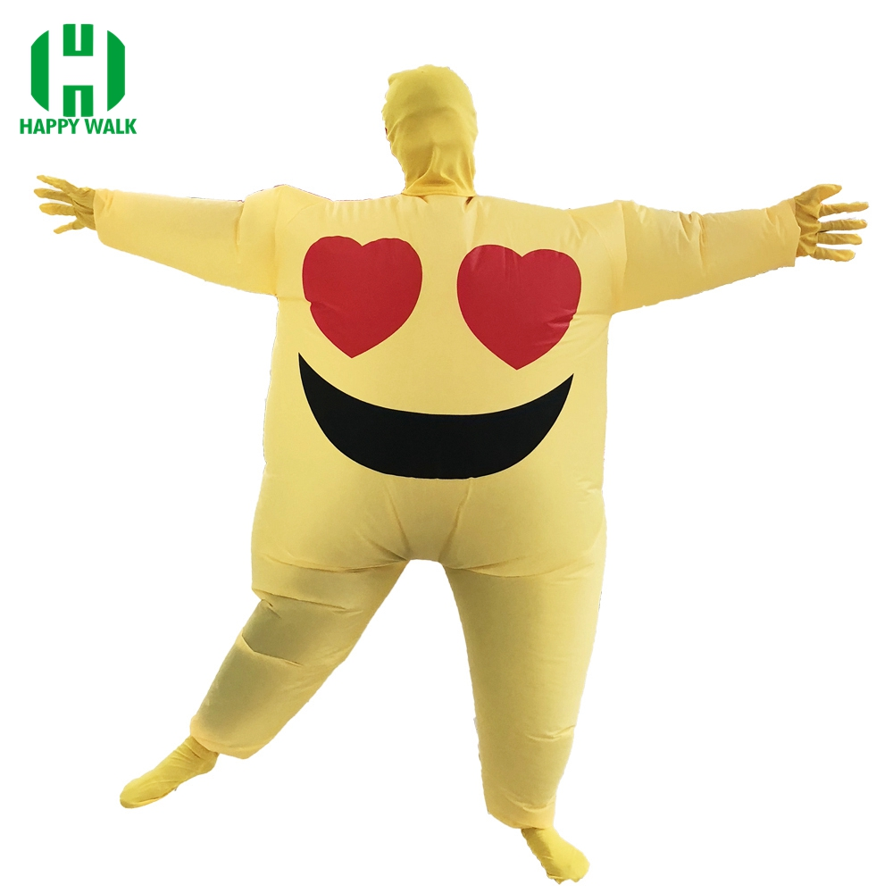 Emoji Inflatable Costume With Mask Love Eyes Emotion Cosplay Costumes For Adult Party Clothing Halloween Christmas Costume