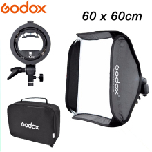 Godox S-Type Flash Speedlite Bracket Mount Holder + 60 x 60cm Softbox for Studio Photography godox 60x60cm photo studio softbox diffuser s type bracket bowens holder mount for canon nikon sony camera flash speedlite