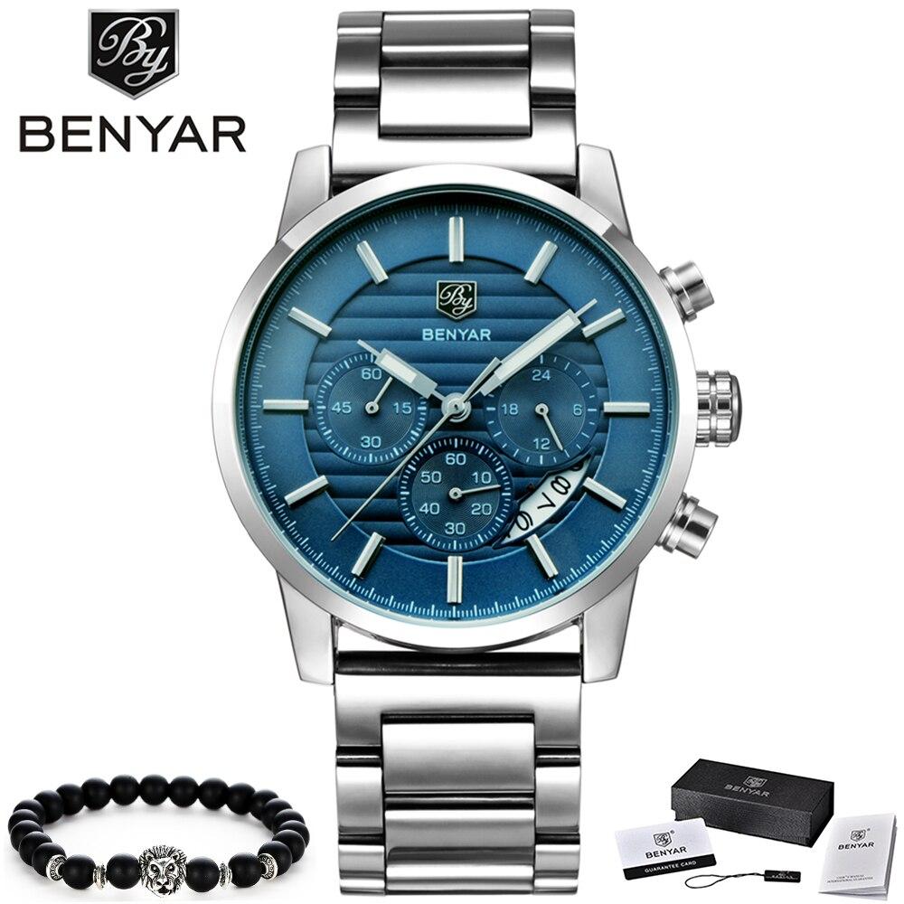 BENYAR Watch Men Fashion Sport Quartz Clock Men Watches Top Brand Luxury Full Steel Business Waterproof Watch Relogio Masculino