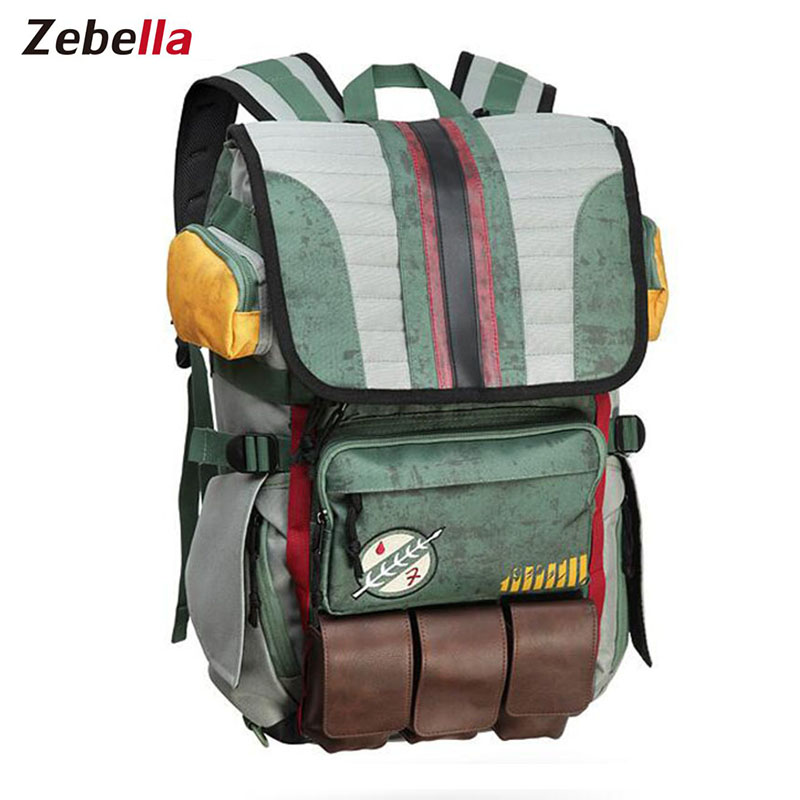 Zebella Star Wars Backpacks Yoda Boba Fett Laptop Men Backpack Vintage Travel Bags Games Movies Anime Male Bags