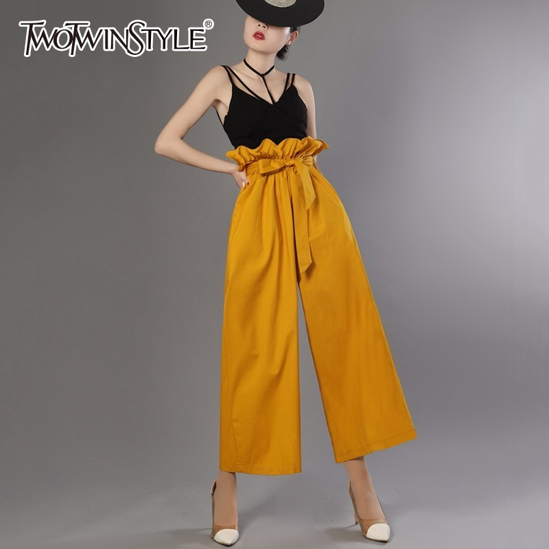 TWOTWINSTYLE Belt Bow Pants For Women Ruffles High Waist Pocket Long Wide Leg Trousers Female Spring