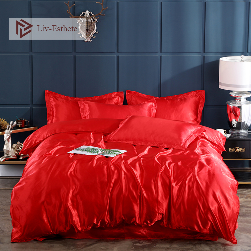 Liv Esthete Luxury Sexy Red Satin Silk Bedding Set Silky Duvet Cover Flat Sheet Pillowcase Double Queen King Bed Set Wholesale in Bedding Sets from Home Garden