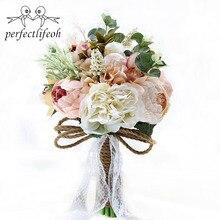Sztuczne bukiety ślubne dla panny młodej na zewnątrz koronkowe kwiaty ślubne broszka bukiety bukiet De Mariage