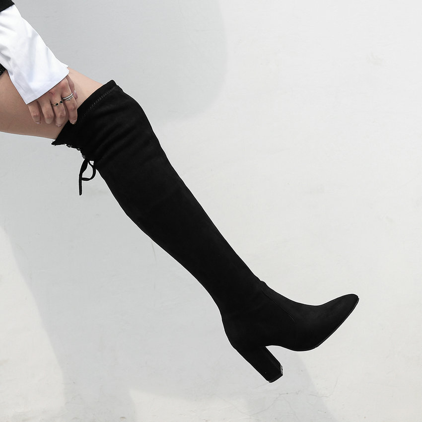 Stivali al Women Up 34 taglia 43 punta 2019 a autunno tacco donna Lace nero grigio ginocchio alto Esveva scarpe scarpe cucito 4STWxwqTn