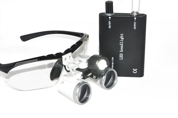 Black Dental magnifying Optical Glass 3.5X420mm  Binocular dental Loupe  + Black Portable LED Head Light Lamp 5lens led light lamp loop head headband magnifier magnifying glass loupe 1 3 5x y103