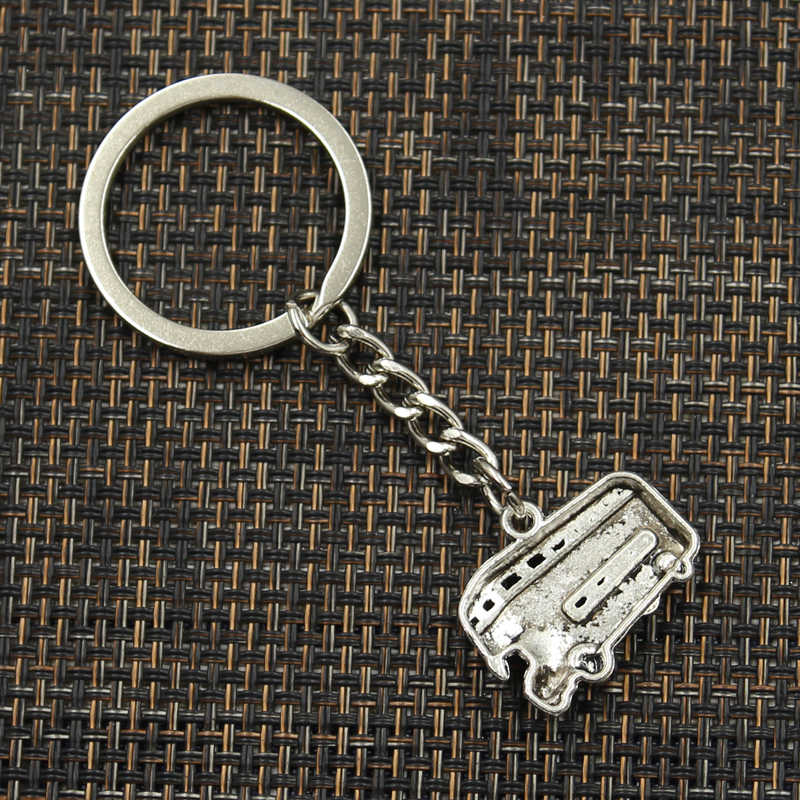 Fashion 30mm Key Ring Metal Key Chain Keychain Jewelry Antique Silver Plated London bus car 20x25mm Pendant