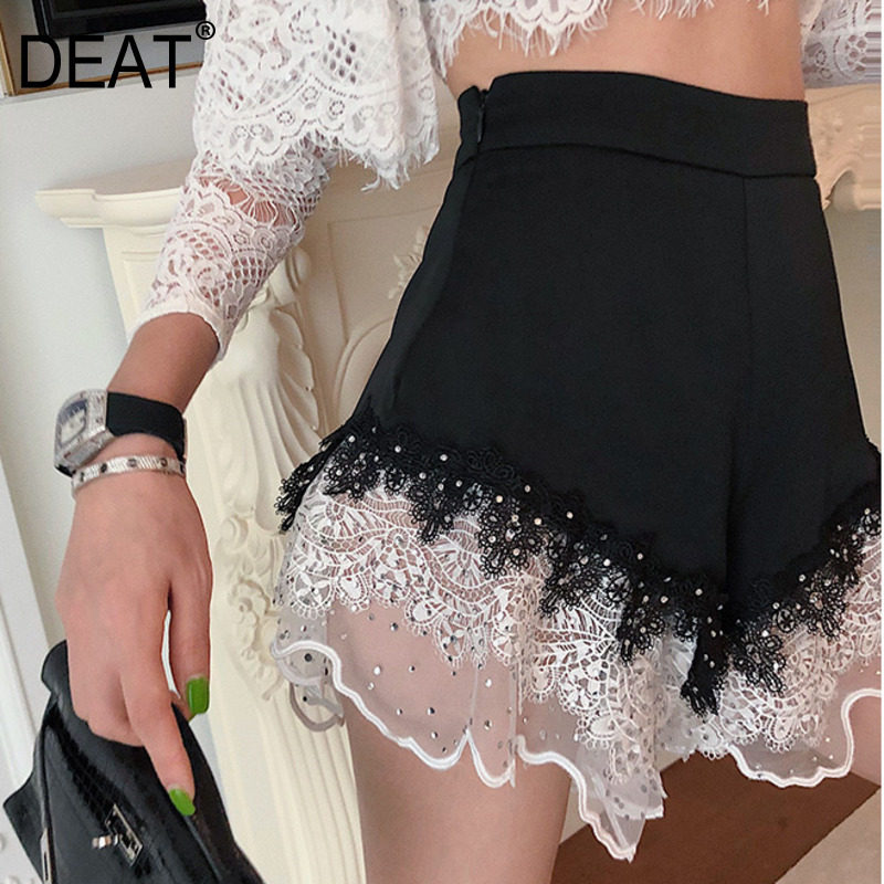 DEAT 2020 Summer New Fashion Clothes Women High Waist Embroidered Flares Patchwork Lace Loose  Feminina Sexy Short Pants QH6210
