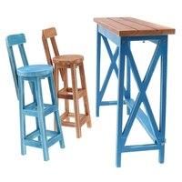 Miniature Wooden Bar Table Chair Furniture for 1/4 BJD Tonner Doll Blue