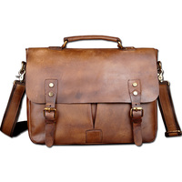 Vintage Classic Briefcase Genuine Natural Leather Messenger Bag Men S Handbag Casual Business Bag Shoulder Bag