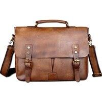 Vintage Classic Briefcase Genuine Natural Leather Messenger Bag Men S Handbag Casual Business Bag Shoulder Bag