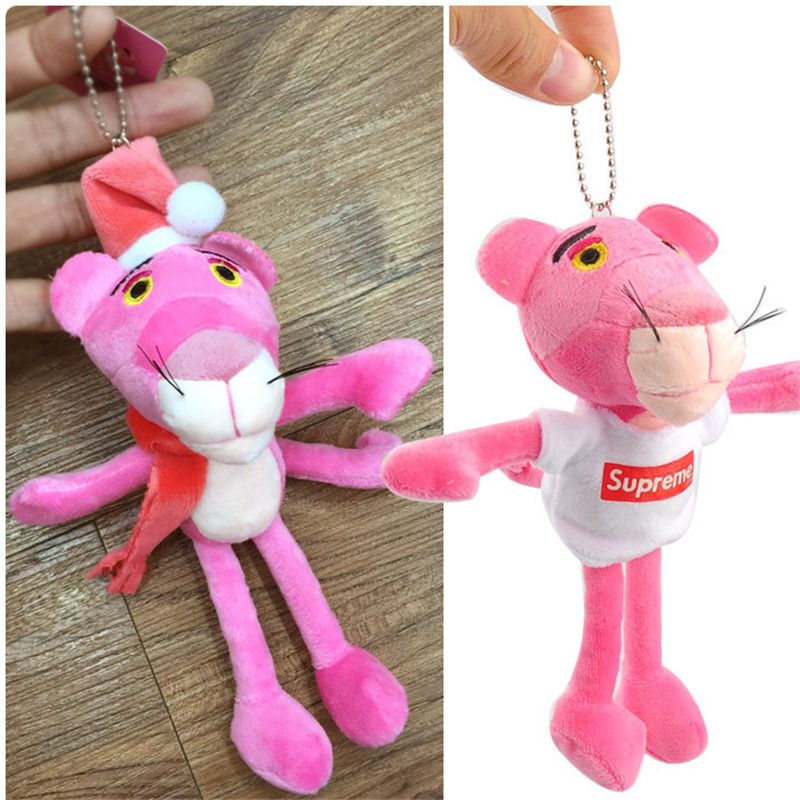 Cute Pink Panther Plush Toys Soft Pink Leopard Dolls Baby Toys Key Bag Pendants Wedding Party Christmas Gift 10pcs 19cm baby toys