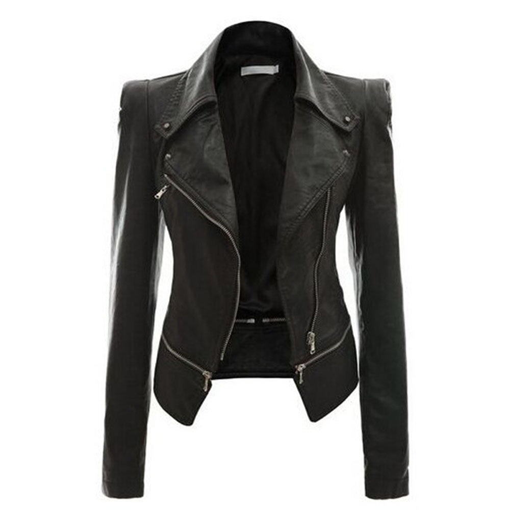 82d2483d2826b9 2018 Autumn Women faux Leather Jacket Gothic Black moto jacket Zippers Long  sleeve Goth Female PU Faux Leather Jackets. 9 10 ...