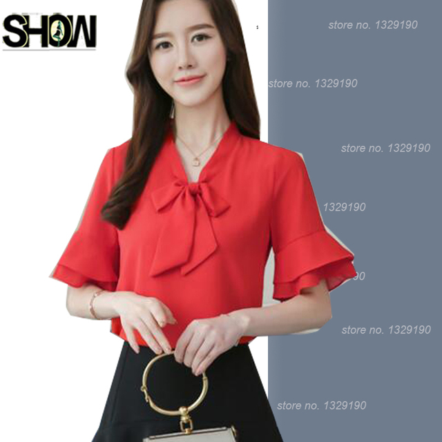 9b2ea90a058669 Flare Sleeve Chiffon Blouses 2018 Design Summer Office Wear Lady Girl Casual  O-Neck Bow Tie Tops Shirts Blusas White Yellow Pink