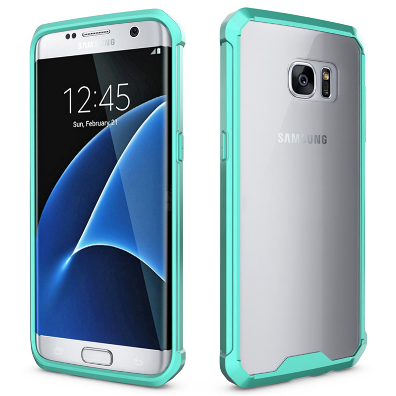 Galleria fotografica For Samsung S7 Edge Case Hot Crystal Hybrid Bumper Clear Hard Acrylic Back Cover for Samsung Galaxy S7 Case S7Edge Phone Cases