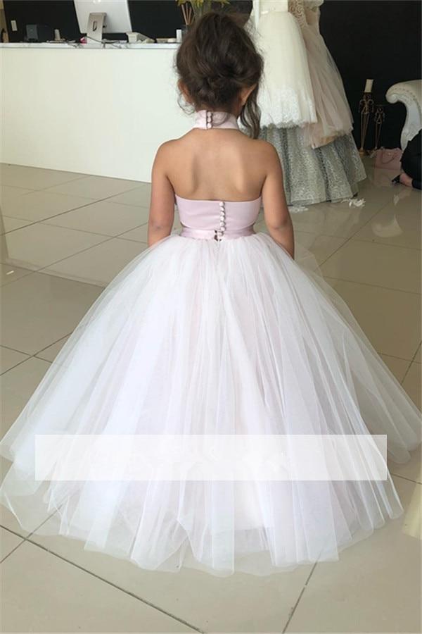 Rose 2019 robes de demoiselle d'honneur pour les mariages robe de bal licou Tulle dentelle perles longues robes de première Communion pour les petites filles - 2