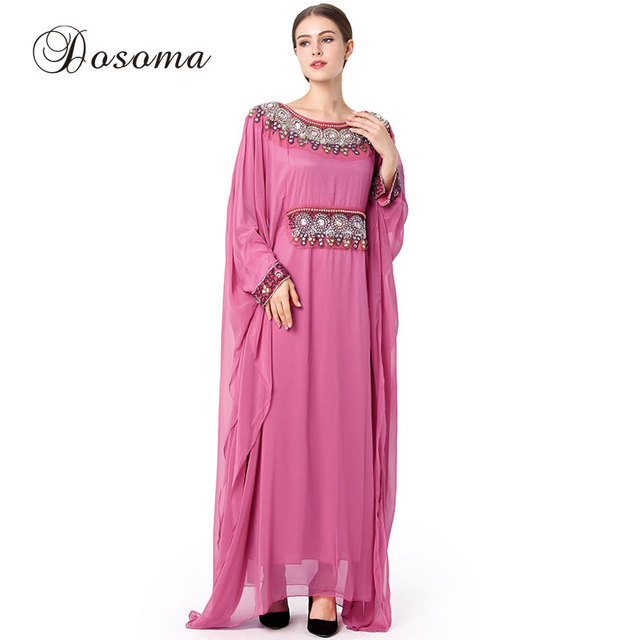 Bordado vestido Instant hijab abaya musulmana vestido Maxi kimono ...