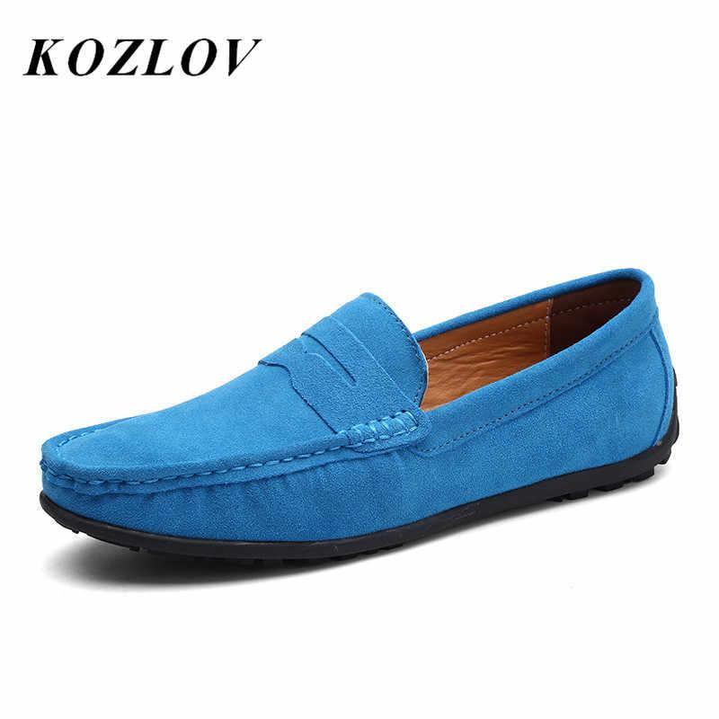 KOZLOV Luxury อิตาเลี่ยนยี่ห้อ Casual รองเท้าหนังนิ่มหนังรองเท้าแตะสำหรับชาย Penny Loafers 2019 Slip On Men รองเท้า Plus ขนาด Skor