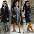 New Baby Girls Long Sweatshirt 2017 Autumn Winter Kids Stripe Hooded Dress For Girls Long Sleeve Kids Fleece Dress Casual Wear
