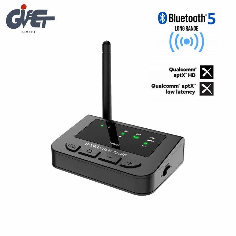 Récepteur émetteur Bluetooth 5.0 longue portée 3 en 1 adaptateur audio et optique sans fil aptX HD et APX faible latence pour TV Home stéréo