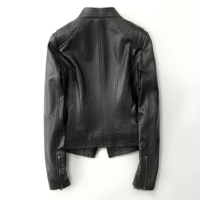 Courte Mouton Veste De Printemps Mince Bomber Femmes Outwear Automne Moto Black Geniune Yolanfairy Pour En Cuir Peau Mf162 Oz5x1Fwq8C