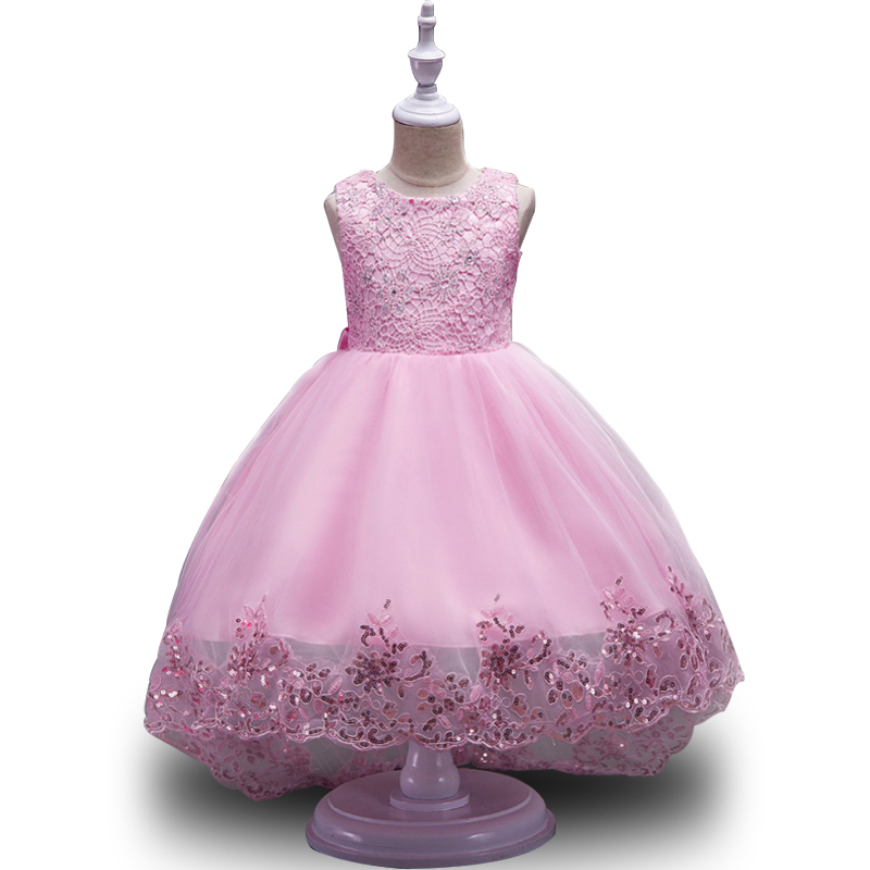 Long tailing Girl Dress elegant Princess Party Pageant Formal Girls Wedding Lace sleeve Dress Girls Clothes Children's clothing long criss cross open back formal party dress