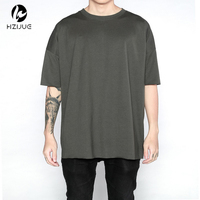 4color Basic Tee Fitness Men Hiphop Clothes 2017 Kpop Streetwear Usa Kanye West Plain Oversized Extended
