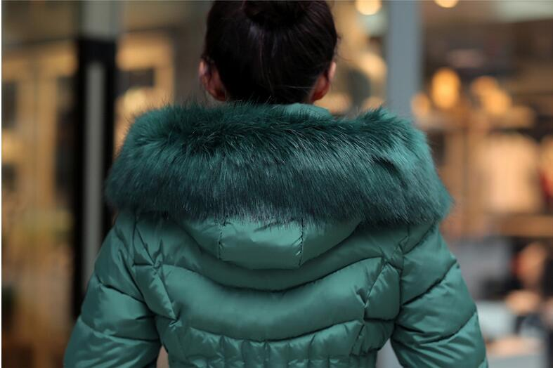 XXXXL Women's jacket Korean Slim stylish hooded down jacket 2016 Hot autumn and winter fur collar down jacket overcoat PL027