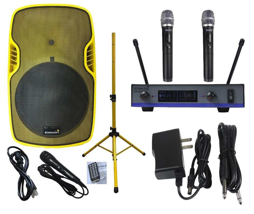 STARAUDIO Yellow 15 3500W Powered Active PA DJ Stage Club Karaoke Speaker W/ Stand 2CH UHF Wireless Mics Wired Mic SSYM-15