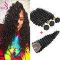 Weave Malaysian Hair With Closure 3 Bundles With Closure Hair With Closure Queen Hair Malaysian Deep Wave With Closure