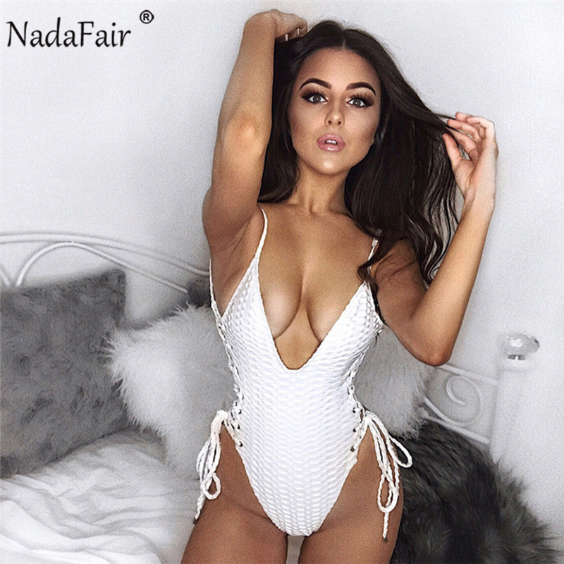 Nadafair summer deep v neck sleeveless backless strap bodysuits women sexy hollow out criss cross lace up patchwork rompers