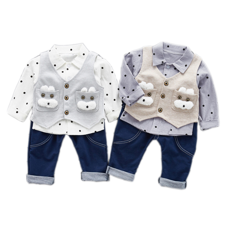 Childrens clothing spring autumn cloth baby boys cloth sets long sleeve casual Idea shirt three pcs sets for boys cloth suit