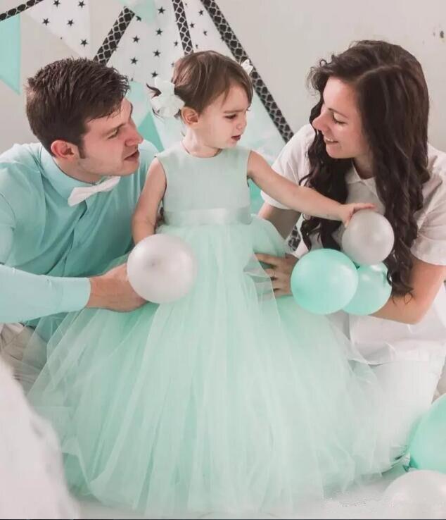Nueva Luz Verde Vestido de Tul Tutú de los Bebés de Cumpleaños con Sash la Altura Del Tobillo Flor Vestidos de Las Muchachas Envío Gratis